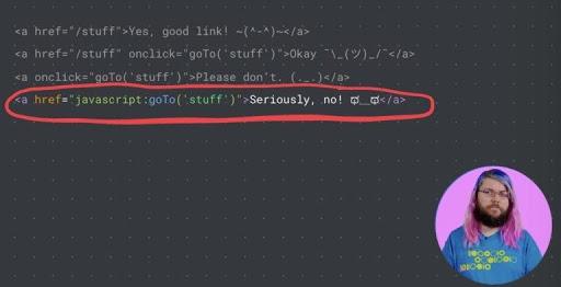 przykład błędnego osadzonego linku w kodzie
