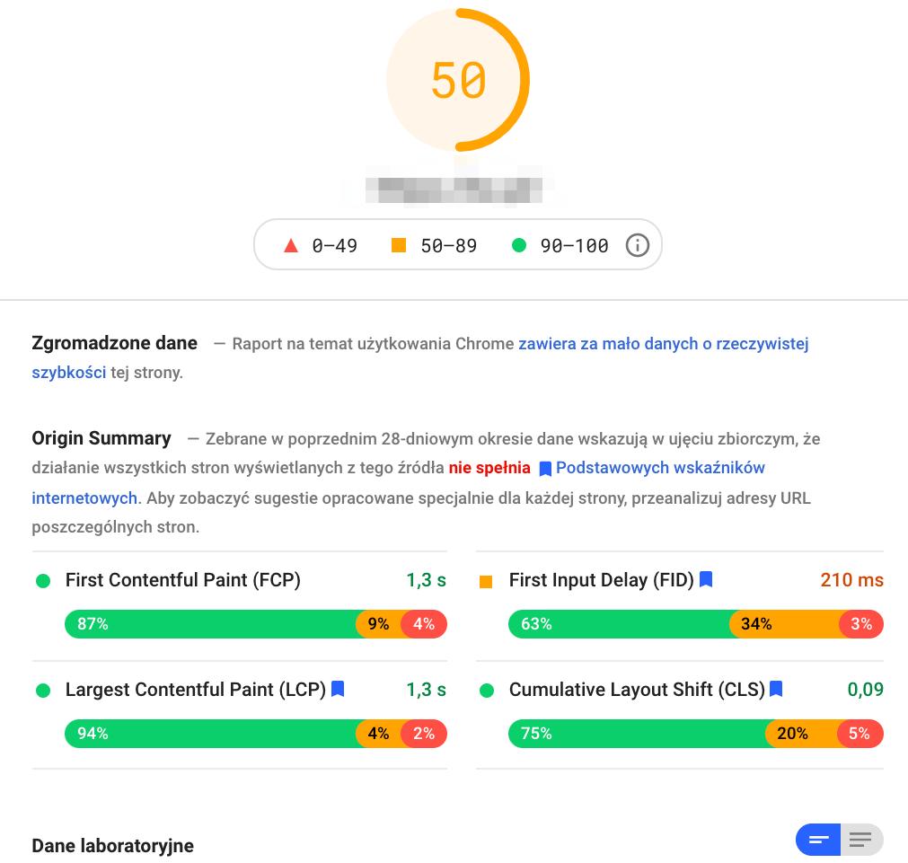 wynik testu PageSpeed Insights