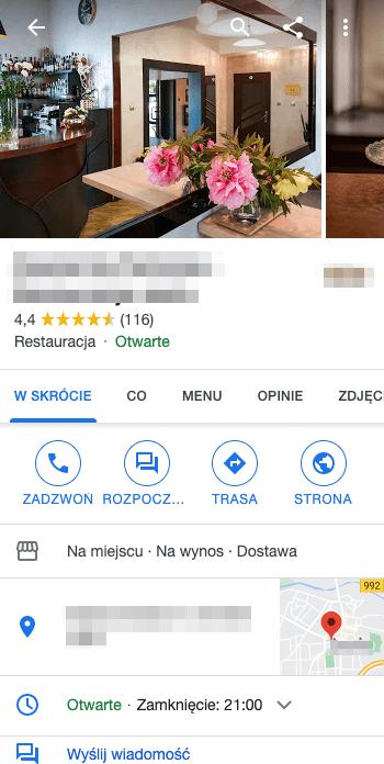 Widok główny Wizytówki Google na urządzeniu mobilnym