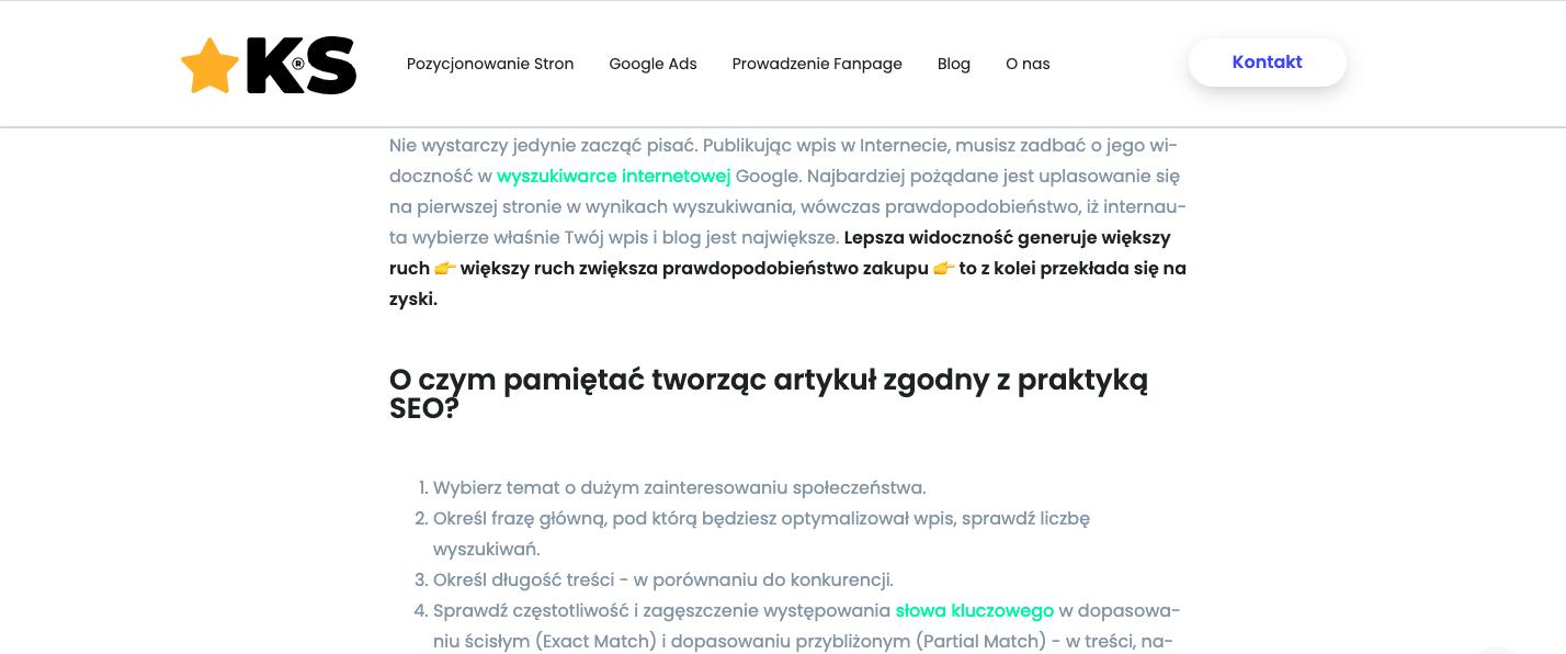 Przykład linkowania wewnętrznego na blogu KS