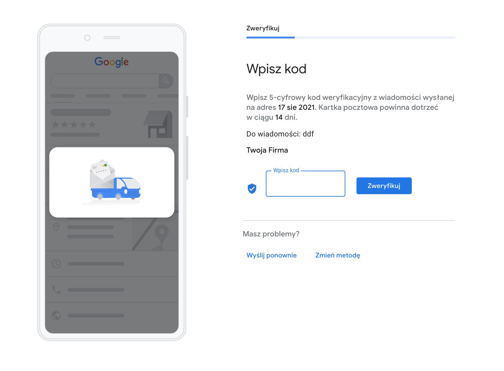 Wpisz kod weryfikacyjny od Google w panelu Google Moja Firma