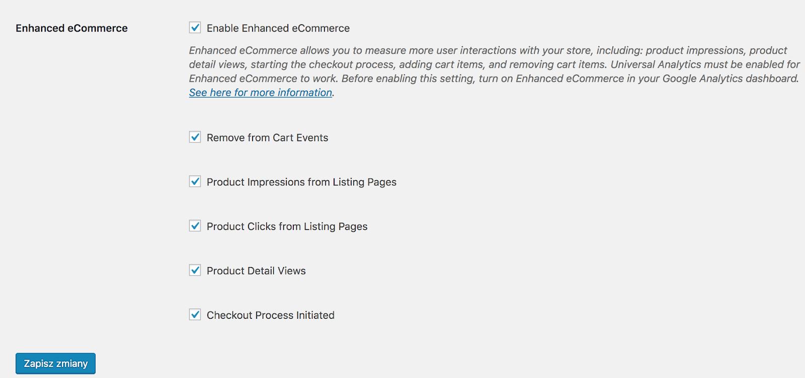 konfiguracja śledzenia e-commerce we wtyczce