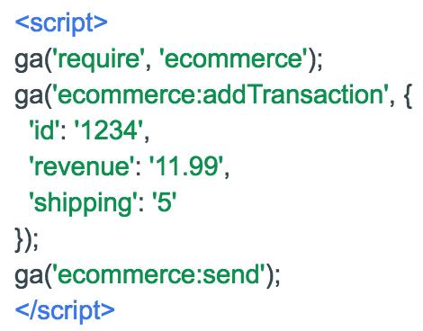 przykładowy kod przekazujący dane o transakcji do GA