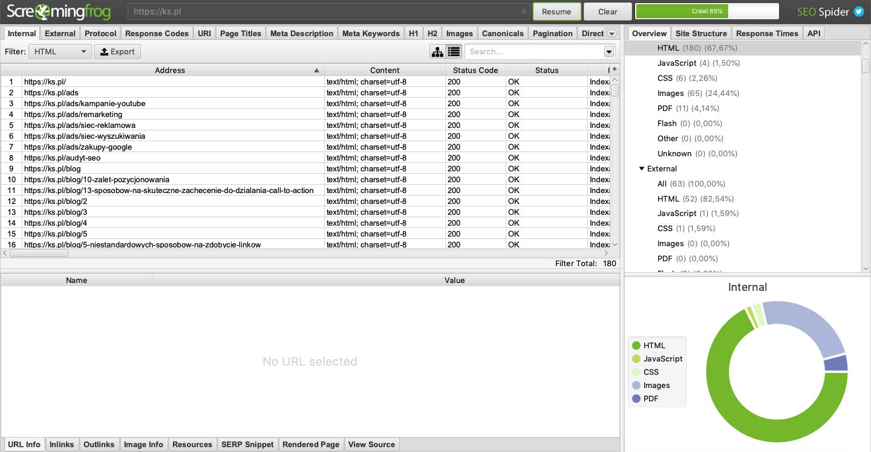 Analiza strony wykonywana narzędziem Screaming Frog