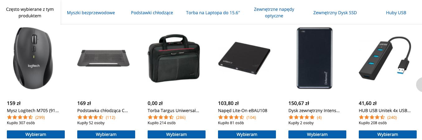 Cross-selling przy zakupie laptopa w sklepie internetowym morele.net