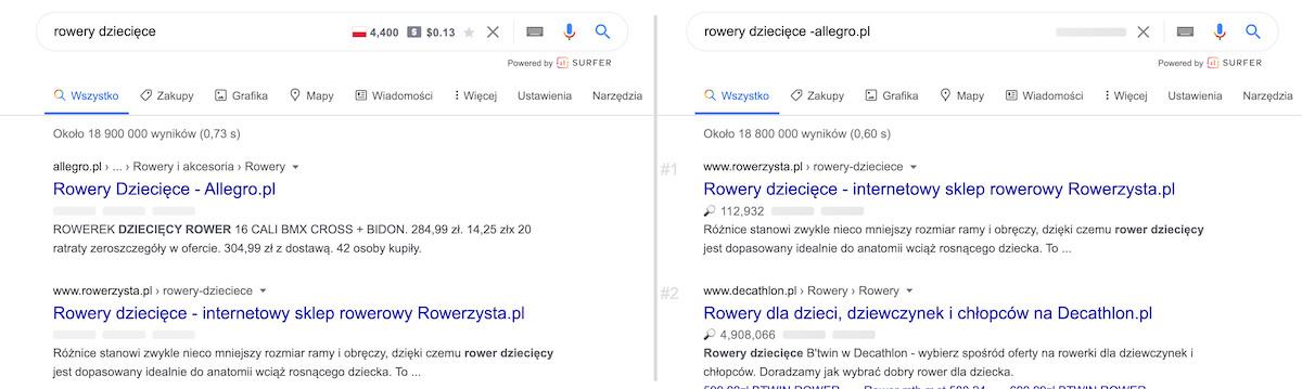 Porównanie wyników wyszukiwania bez i z parametrem wyszukiwania