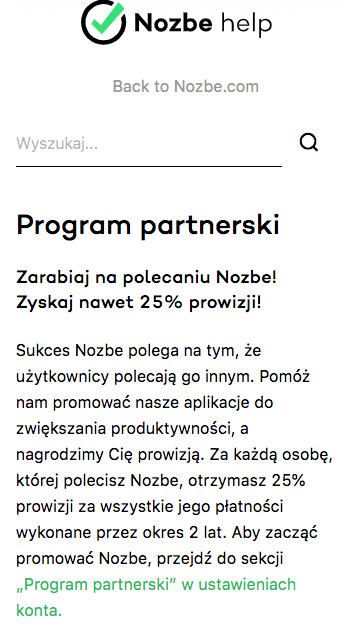 program afiliacyjny Nozbe