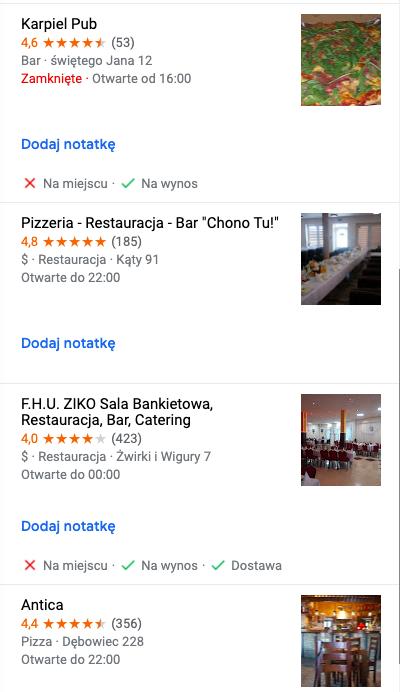 listy Google Maps