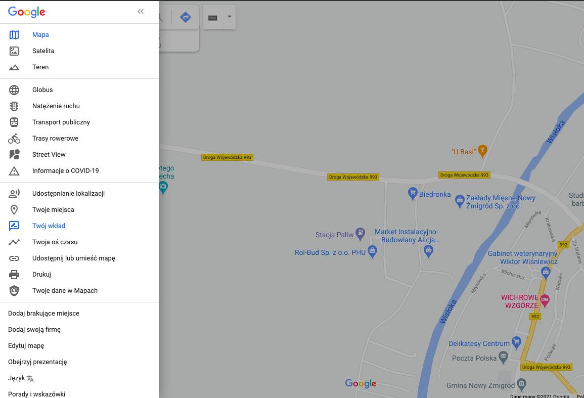 Sprawdzanie wkładu w Mapach Google