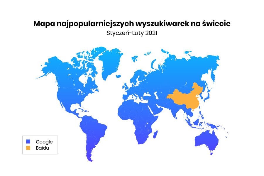 mapa najpopularniejszych wyszukiwarek internetowych