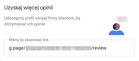 Link do dodania opinii w wizytówce