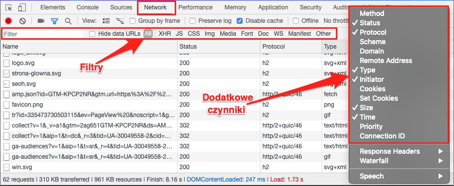 filtrowanie plików xhr, javascript, css, img, itd.