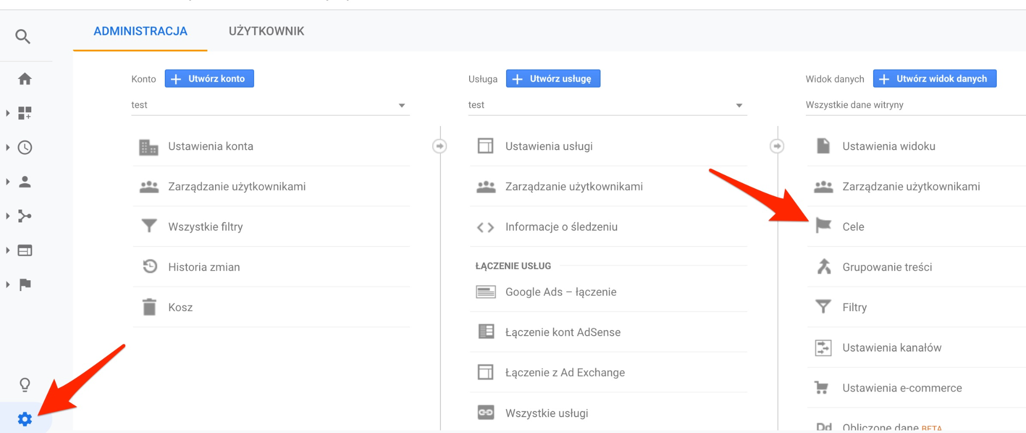 Gdzie tworzyć cele w Google Analytics