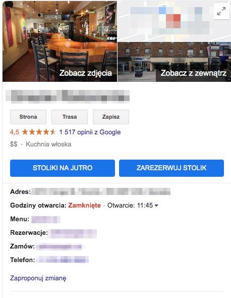 wizytówka Google z możliwością rezerwacji stolika