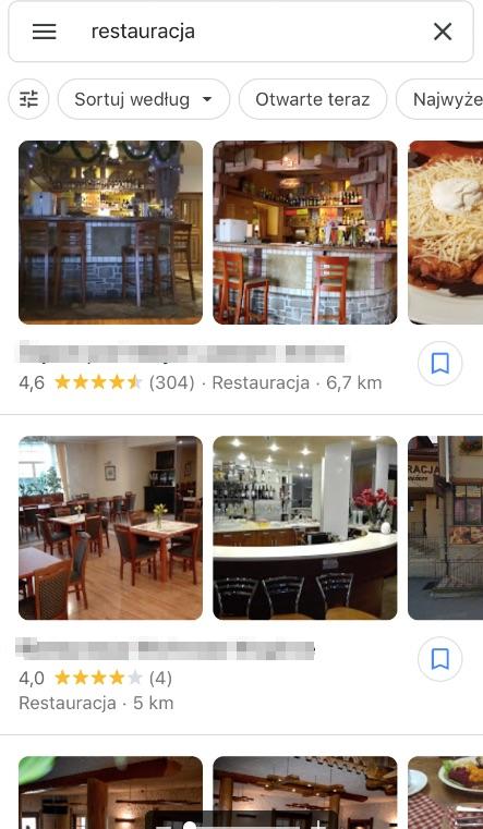wizytówki Google wyświetlane na zapytanie restauracja
