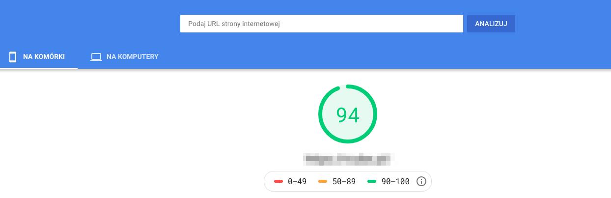 Google PageSpeed Insights - test dla urządzeń mobilnych i desktopowych
