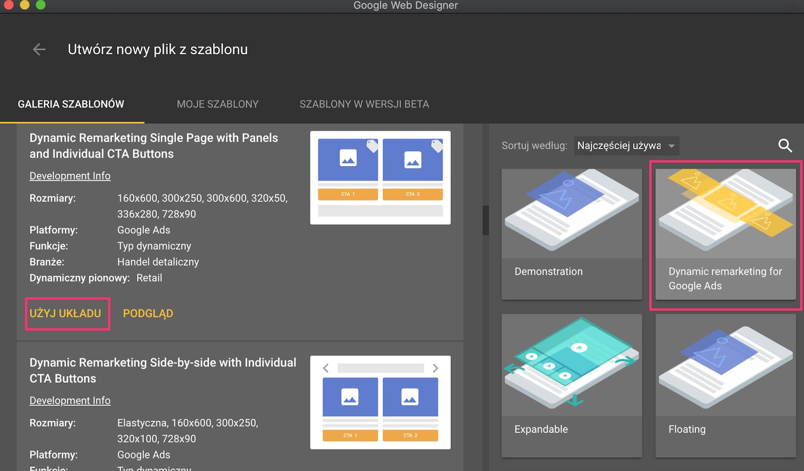 Rys.2. Szablony reklam w Google Web Designer