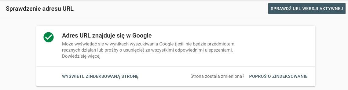 zaindeksowanie strony w google search console