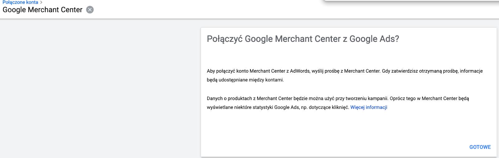 Połączenie konta Google Merchant Center z Google Ads