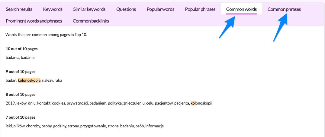nowe funkcjonalności w Surferze - Common words i common phrases