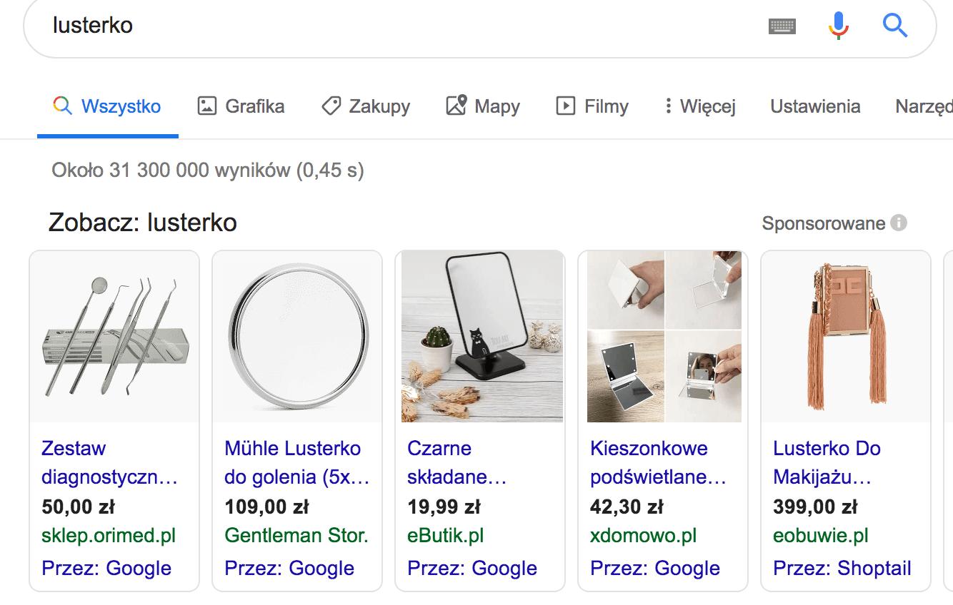 """Wyniki w Zakupy Google dla słowa """"lusterko"""""""