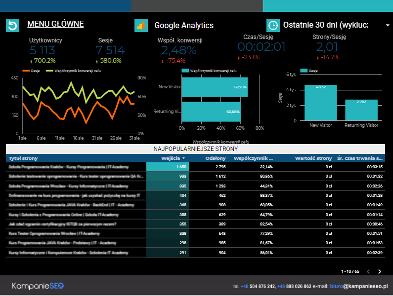 Google Analytics Strona 1