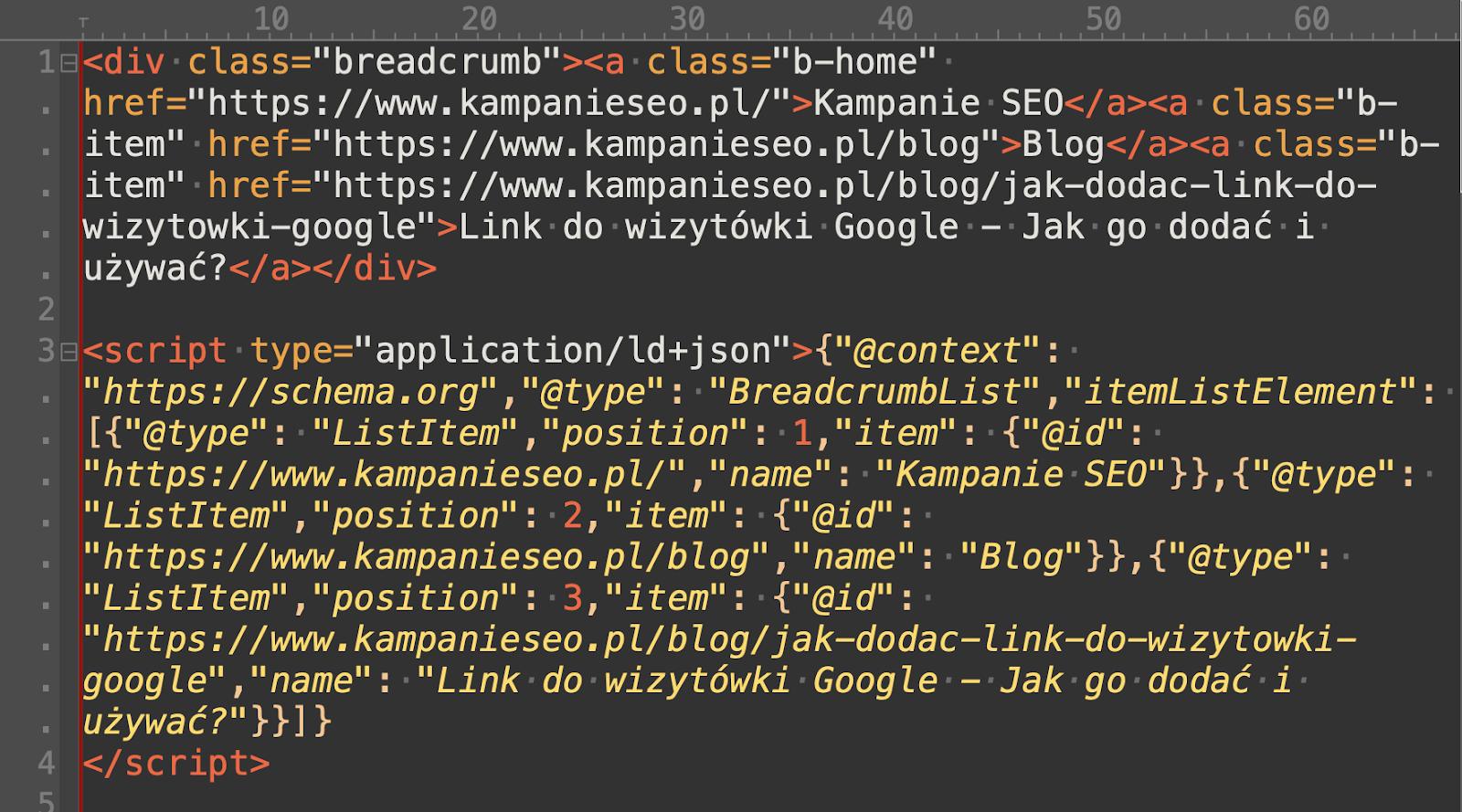 Przykład poprawnego kodu breadcrumbs wraz ze schema