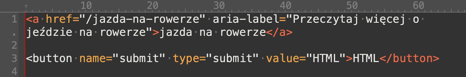 Przykład poprawnego kodu linku oraz przycisku