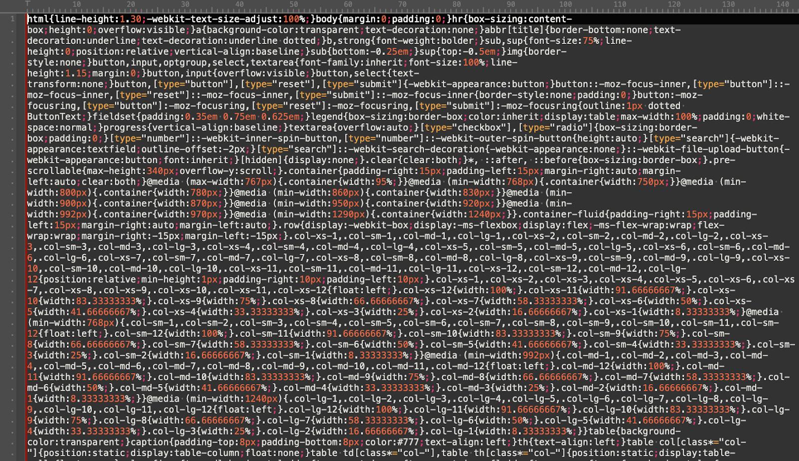 Przykład zminifikowanego kodu CSS