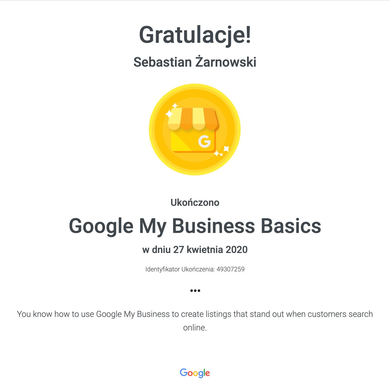 Certyfikat Google My Business
