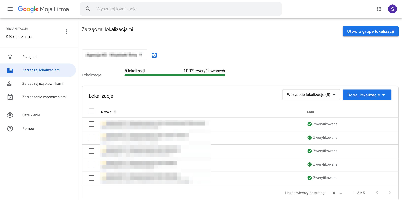 Lista lokalizacji w panelu Google My Business