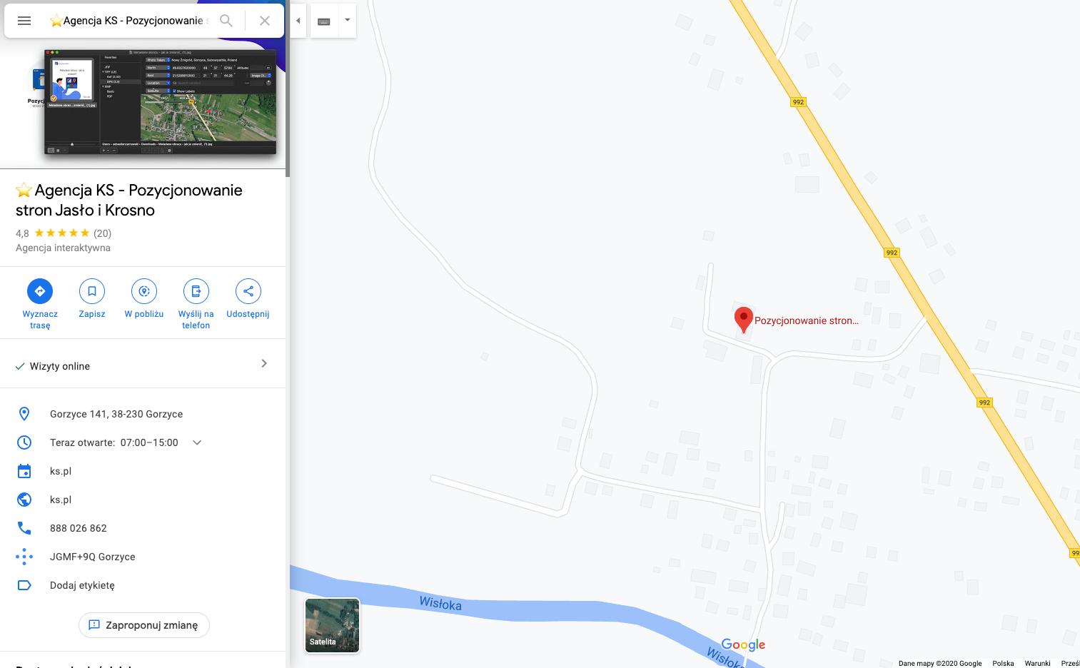 Profil agencji KS w Mapach Google