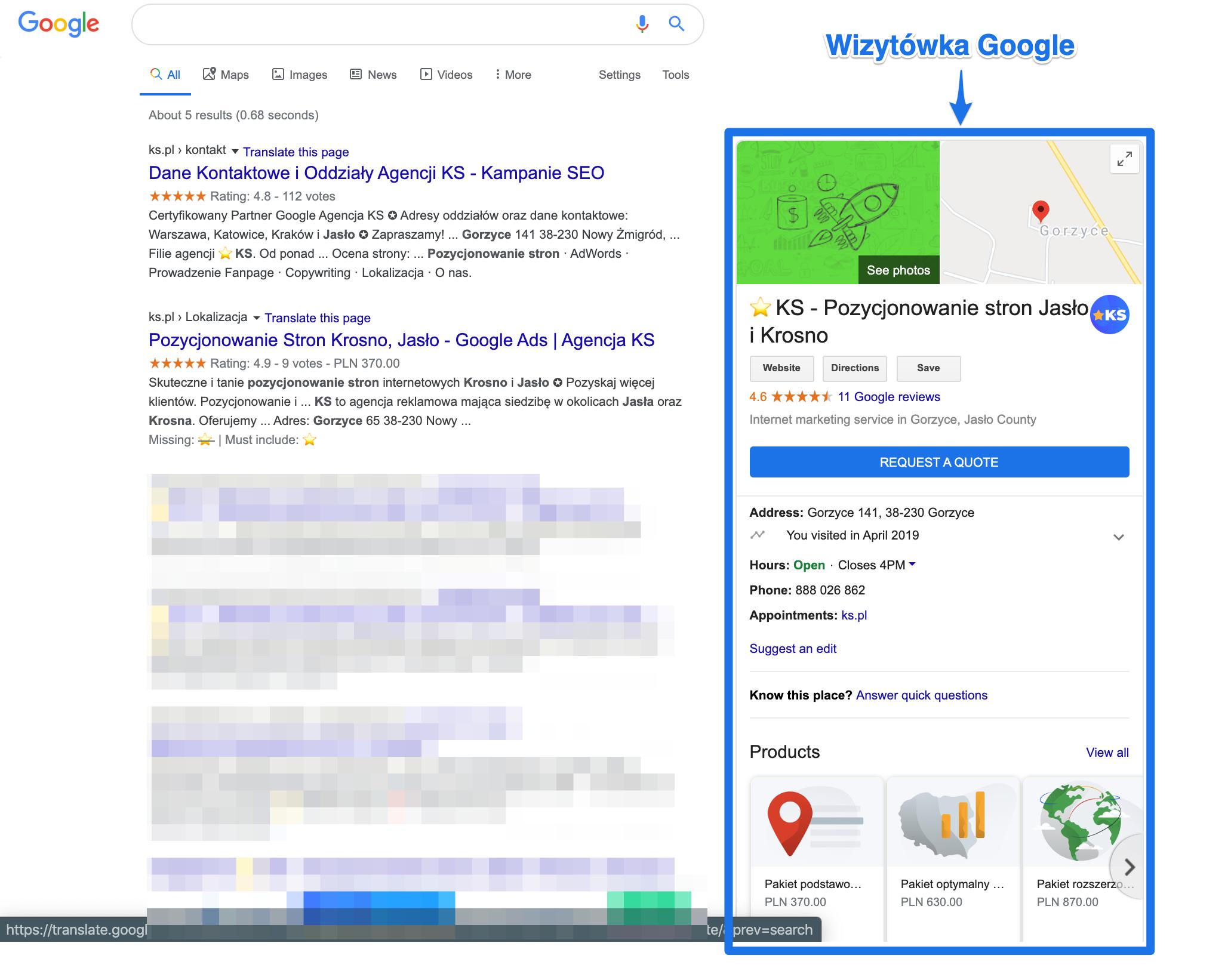 Widok wizytówki Google w przeglądarce
